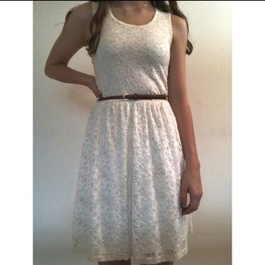 Justify mini white lace dress w braided brown belt